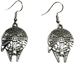 Star Wars Millennium Falcon Pewter Finish French Wire Earrings