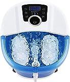 Masajeador de pies 6 en 1 con calor, pulverizador, 4 rodillos de masaje motorizados, conversión de frecuencia de 3 velocidades, ajuste de tiempo y temperatura, comodidad de los pies, remojo