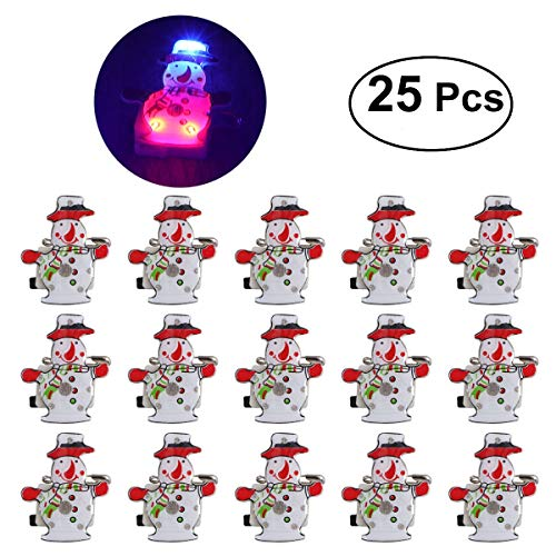 LUOEM 25Pcs Christmas Light Up Party Favors Glow Toys Supplies LED Brooch Pin for Children Gift