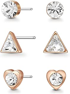 Mestige Women Glass Rose Gold Ember Earring Set with Swarovski Crystals