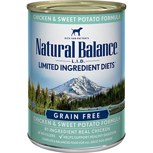 Natural Balance L.I.D. Limited Ingredient Diets Wet Dog Food, Chicken & Sweet Potato Formula, 13 Ounce Can (Pack of 12)