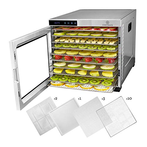 Sale!! ChefWave 10 Tray Food Dehydrator Machine - Stainless Steel, Digital Temperature Control & Tim...