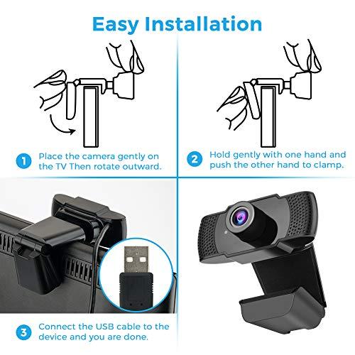 Webcam PC, 1080P HD ajustable USB Webcam con micrófono, Plug and Play cámara web para videollamadas, estudio en línea, conferencia, grabación, juegos miniatura