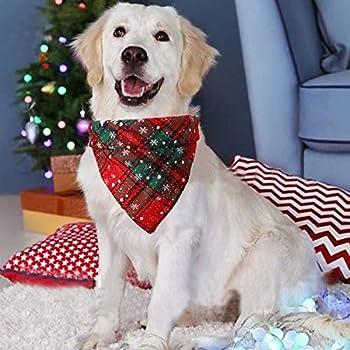 Fettinow Bandana de Noël pour chien de grande race – Bandana pour chien – Accessoire de Noël – Premium pour chien rouge buffle écossais