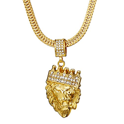 """Necklace,Gold Necklace,Men's Gold Plated """"LION KING"""" Pendant Necklace,IP Plating Never FADE"""