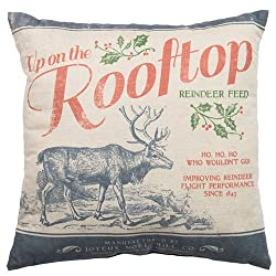 Farmhouse Christmas Decor a throw pillow with up on the rooftop song words on it.