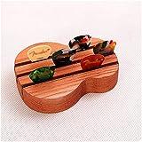 Hermosa Guitarra acústica Pick Clip Clip de guitarra eléctrica Caja de selección de madera maciza Accesorios de instrumentos musicales con almohadilla de presión de cuero de vaca, puede mantener la fu
