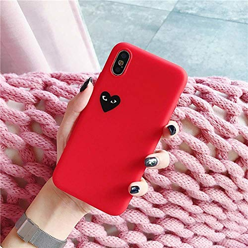 Hoesje met hartje iphone Xr (rood) + glazen screen protector