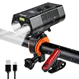 USB Rechargeable Bike Lamp Set IPX6 Waterproof Fast Charging Super Bright LED and Flash Rear Light for Night Mountain Road Riding