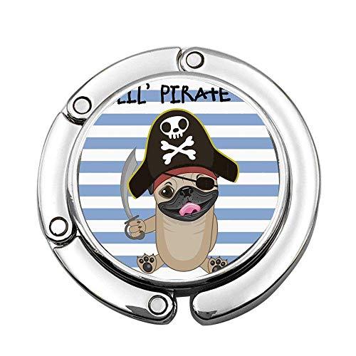 Perro bucanero en Estilo de Dibujos Animados Disfraz Lil Pirata telón de Fondo a Rayas Animal Divertido Bolso Plegable Bolso Colgante