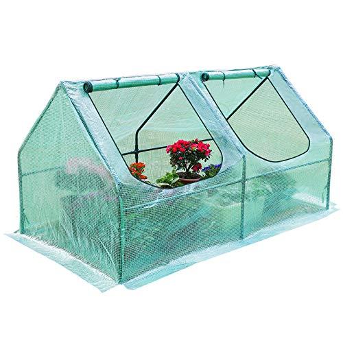 Yorbay Foliengewächshaus Frühbeet Gewächshaus für Tomaten Gemüse Pflanzen, mit UV-beständige Gitternetzfolie und Fernster für Garten zur Aufzucht, Spitzdach, niedrig, Grün, 120 x 60 x 60cm (LxBxH)
