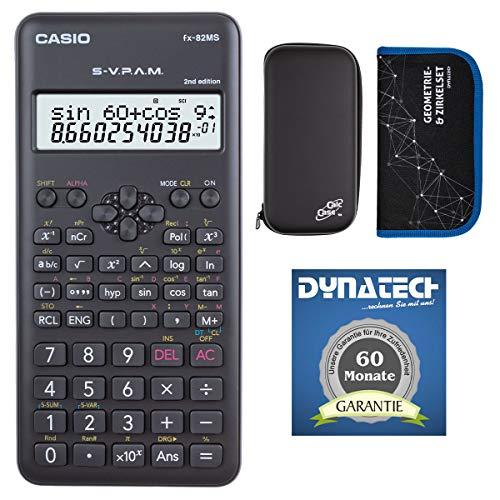 Casio Taschenrechner FX-82 MS 2nd + Schutztasche kompatibel mit Rechner + Zirkelset - Garantie auf 60 Monate - wissenschaftlicher Schulrechner Nicht programmierbar elektronisches Display Batterie