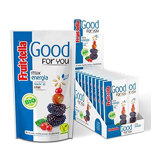 Fruittella Good For You Mix Energia Bio, Snack di Semi, Frutta Secca e Disidratata Biologico, Fonte di Rame - 20 Pacchetti Monodose da 35 gr