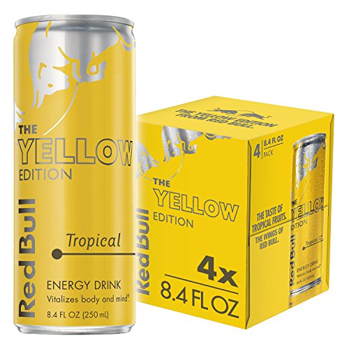 Red Bull Energy Drink, Tropical Yellow Edition, 8.4 Fl Oz (pack of 4)