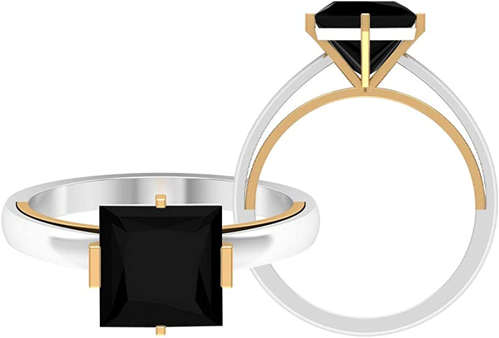 2.50 CT Lab Created Black Diamond Princess Cut Solitaire Ring, Two Tone Solitaire Ring (AAAA Quality), 14K Gold