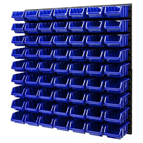 Wandregal Stapelboxen Lagersystem - 772 x 780 mm – 63 Stück Boxen Werkstatt Schüttenregal Werkzeuglochwand (Blau)