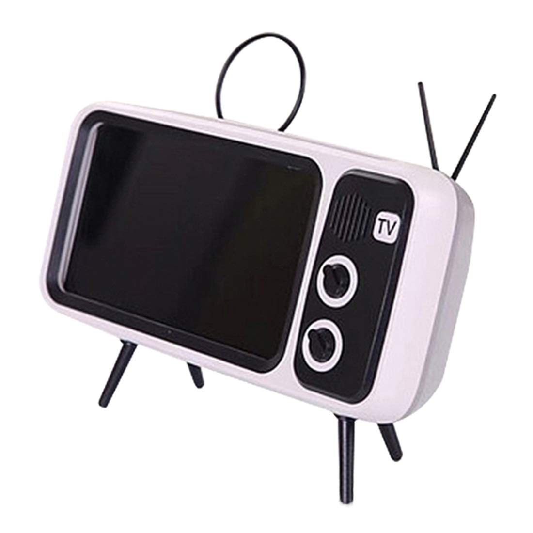 Table Cell Phone Accessories Silver Grey Goshfun PTH800 Retro TV Bluetooth Wireless Speaker Phone Holder Desktop Mobile Phone Stand for Phones with 4.7-5.5 inch Screen