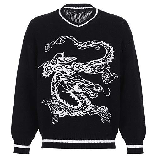 None/Brand Suéter de Mujer Otoño Invierno Cuello en V Patrón Dragón Cálido Top Suelto de Manga Larga