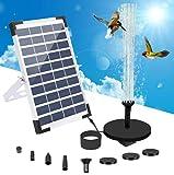 Fuente de agua con energía solar, Jsvacva 5.5 W, kit flotante de fuente de panel solar, bomba de agua con 5 boquillas, fuente solar para baño de pájaros, piscina, estanque, jardín