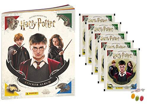 Panini Harry Potter Sticker & Cards Version 2020 - 1x Sammelalbum + 5 Stickertüten je Tüte 4 Sticker + 1 Trading Card - zusätzlich 1 x Sticker-und-co Fruchtmix Bonbon