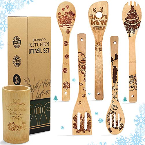 5 Pcs Wooden Spoons Cooking Set, Christmas Pattern Burned Organic Bamboo Spoon Carved Spatulas Kitchen Utensils Sets For Christmas Kitchen Decorations, Great Gifts Idea for Chefs & Foodies