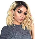 Lace Front Synthetic Hair Wigs Ombre Blonde Color Natural Wave Side Part 14'' Short Bob L Part Lace Wig For Women