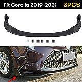 Fits Toyota Corolla 2019 2020 2021 Front Bumper Lip Body Kit Spoiler 1 Set, Matte Black