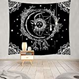 Moon Tapestry,Tapestry Wall Hanging,LingBen Mandala Tapestry Trippy Tapestry Black WhiteTapestry Burning Sun with Stars Popular Mystic Tapestry for Bedroom and Living Room Wall Art Decor 50x60 inch