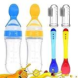 Cucchiaio di alimentazione Dispenser per bambini 2 Bambino Dito Spazzolino 2 Cucchiaio da Bambino (Blu&Giallo)