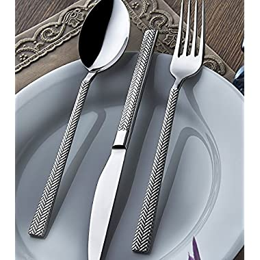 Silverware set by OLINDA 18/10 Stainless Steel Flatware set spoons forks and knife set service for 4 20 piece set, Sirma