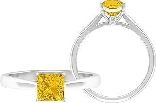 Anello di fidanzamento in oro moissanite D-VSSI, anello di fidanzamento con zaffiro giallo 3/4 ct, 5,50 mm, 10K Oro bianco...
