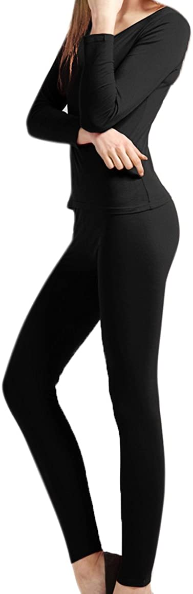 Womens Pajama Set Knit Ultra Soft Thermal Underwear Long Johns Set with T-Shirt and Pants