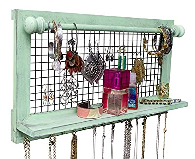 Shabby Chic Jewelry Organizer with Removable Bracelet Rod from Wooden Wall Mounted Holder for Earrings Necklaces Bracelets and Other Accessories   SoCal Buttercup by SoCal Buttercup