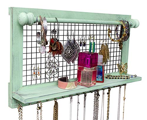 Shabby Chic Jewelry Organizer with Removable Bracelet Rod from Wooden Wall Mounted Holder for Earrings Necklaces Bracelets and Other Accessories | SoCal Buttercup