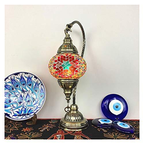 JJH Nachtlicht im marokkanischen Stil, Buntglas-Lampenschirm, Vintage Tischlampe für Wohnzimmer Schlafzimmer Hotel Cafe, E14 Glühbirne, Bunte Lichter (Color : 2)
