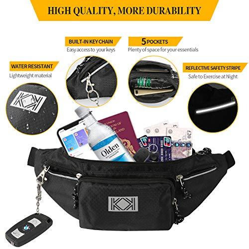 KK New Water Resistant Bum Bag, Large Waist Bag - Strong, Spacious Travel, Sport, Holiday & Festival Waist Pouch & Hip Pack for Men & Women (BLACK)