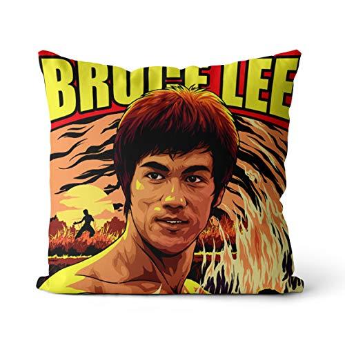 Stampa che abbraccia il federa Bruce Lee, il pioniere del film di Kung Fu Jeet Kune Do, il fondatore delle arti marziali cinesi, attore cinematografico, federa 45x45 cm, federa per poltrona
