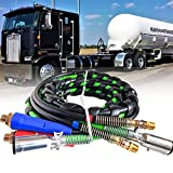 BUCKHORN Semitrailer Tractor Truck Parts12 Ft 3-in-1 Wrap Set ABS Electrical and Rubber Air Line Hose Assemblies, for Semi Air Hose 7 Way Truck Tractor Trailer (12FT) (12ft)