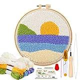 Pllieay Los kits de iniciación de bordado de aguja de perforación incluyen instrucciones, tela de aguja de perforación con patrón, hilos, aros de bordado para alfombra y aguja de pellizco (amanecer)