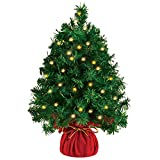 "20"" Tabletop Mini Christmas Tree Prelit with 45 Clear LED Lights(8 Light Modes), Best Home and Office Christmas Decorations"