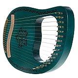 16 Arpa de cuerdas de metal, madera maciza de madera de asador Lyre con llave de ajuste y curso de inglés para principiantes para niños, mejor regalo para el entusiasta de la música