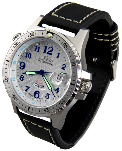 Vintage Xezo Mens Air Commando, 2nd Time Zone Swiss Made Pilot Divers Automatic Watch, Partial GMT