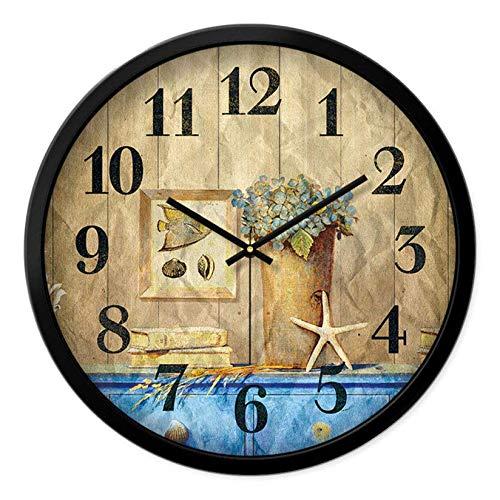 DNGDD Reloj de Pared Interior silencioso Redondo Estilo mediterráneo portátil decoración Creativa Moderno 12 Pulgadas Fuerte y no se daña fácilmente, B, 12 Pulgadas