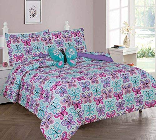 Rooney Ultra Soft Microfiber Boys & Girls Bed in a Bag Comforter Bedding Set (Butterfly Blue, 8 Piece Full Size)