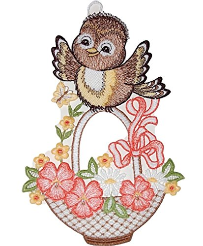 Fensterbild Plauener Stickerei Vogel mit Blumenkorb Frühling Sommer 15x24 cm + Saugnapf