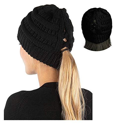 hat Señoras de Punto Sombreros, Forro de Invierno Gorros cálidos con Orificios de Cola de Caballo, Sombreros temblores, Sombreros de Invierno (Color : Black)