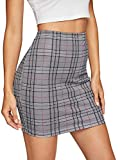 SheIn Women's Basic Stretch Plaid Mini Bodycon Pencil Skirt Deep Grey Medium