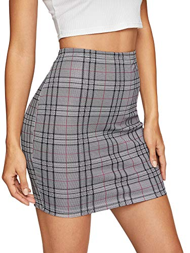 SheIn Women's Basic Stretch Plaid Mini Bodycon Pencil Skirt X-Small #Grey#4