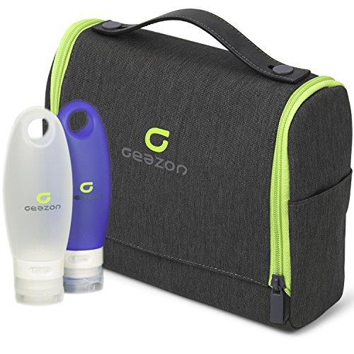 Geazon Kulturbeutel zum Aufhängen für Damen und Herren. Hochwertige und Kompakte Kulturtasche für Reisen (22.5 x 18 x 7.5cm) inkl. Reiseflaschen Set