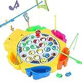 Elektrisch Angelspiel Musikalisches Spiel mit 21 Fische und 6 Ruten für Kinder Mädchen ab 3 4...